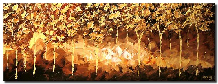 palette knife golden forest horizontal lights