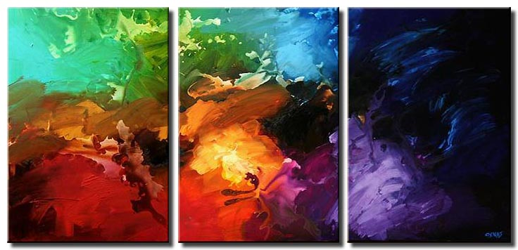 triptych bold colorful abstract painting