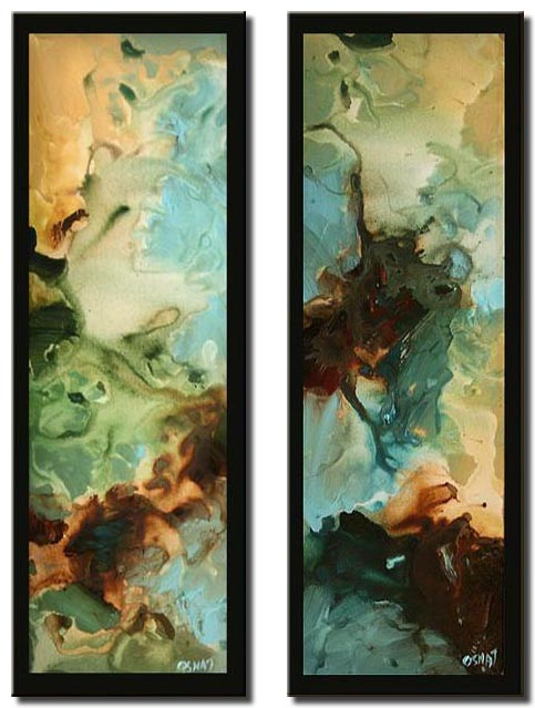 diptych abstract home decor vertical splash