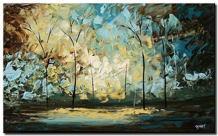 palette knife landscape painting trees