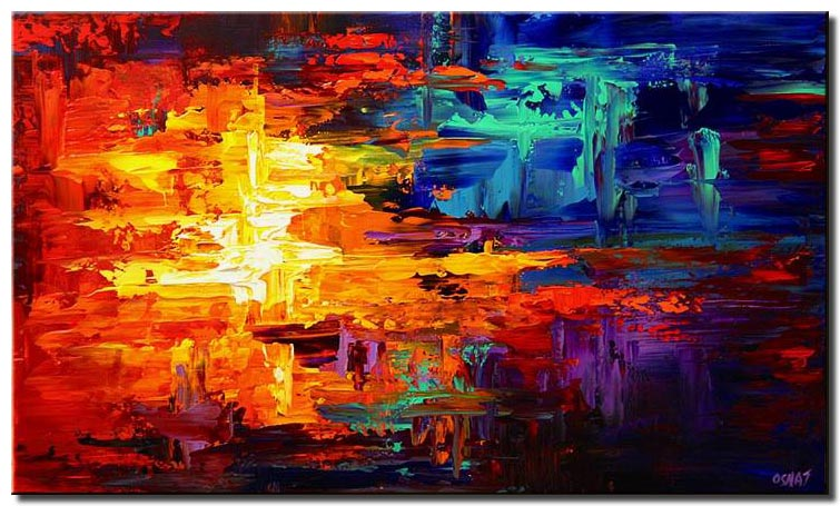bold colorful red blue and yellow abstract
