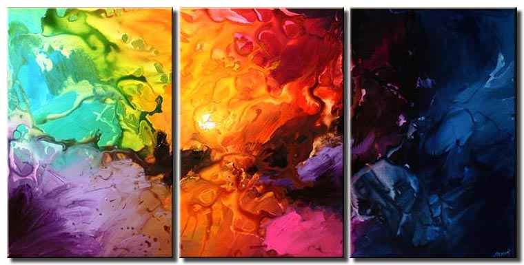 colorful modern abstract triptych canvas