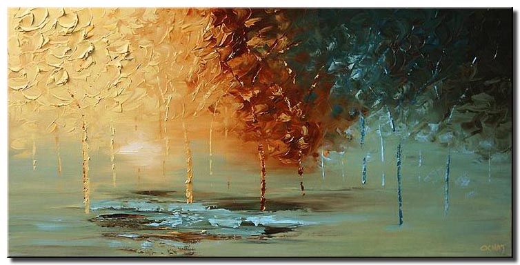 landscape textured painting forest wall decor