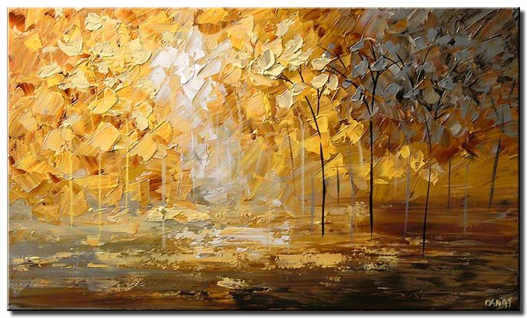 landscape textured painting blooming yellow trees