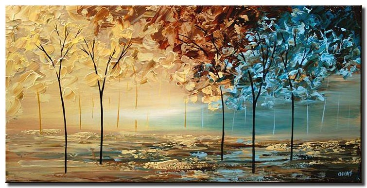 palette knife soft forest trees colorful earth