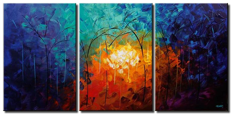 triptych landscape blooming forest painting