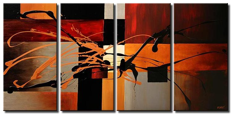 red black and orage squares painting multi panel