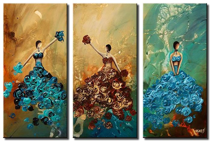 abstract painting of 3 dancers