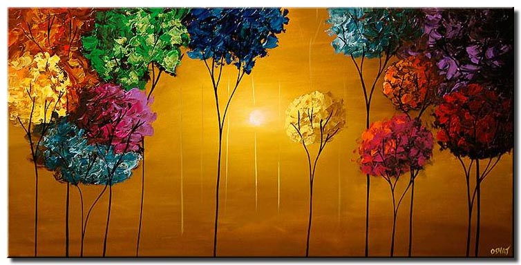 colorful blooming trees textured painting