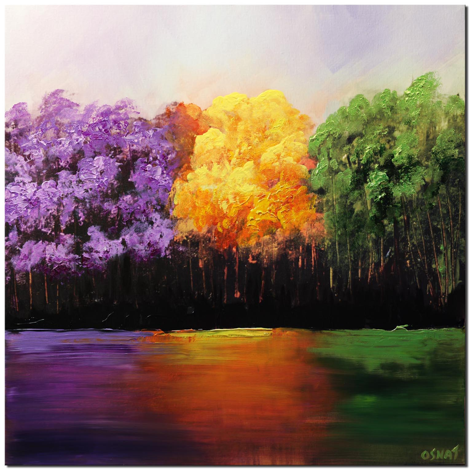 forest reflection in river purple orange green trees