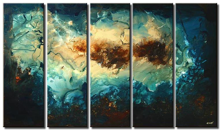 multi panel canvas abstract blue and brown