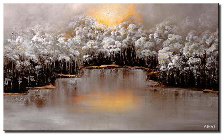 landscape painting white forest near a river