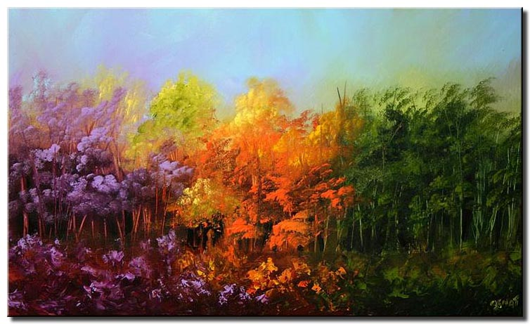 colorful forest in lavender orange and green