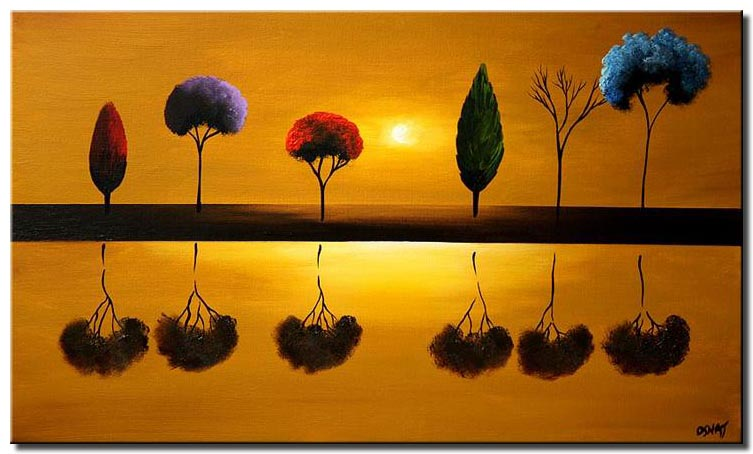 abstract painting of different trees reflected in water