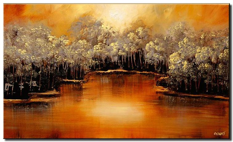 dense forest on river bank wall painting