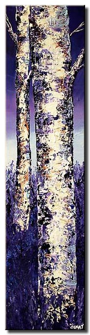narrow vertical painting of two birch trees