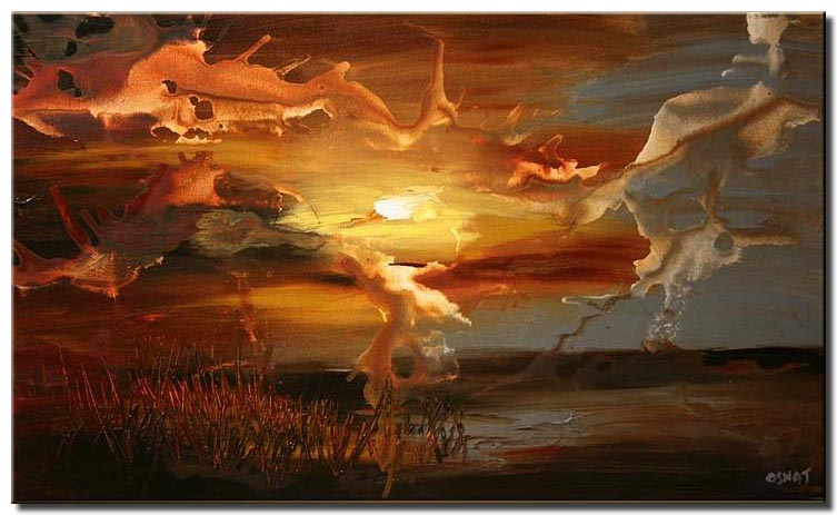 abstract landscape of sunset home decor
