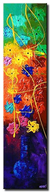 narrow vertical floral painting  colorful large
