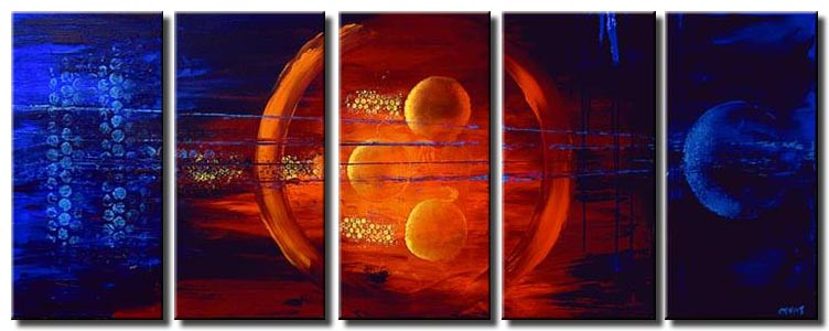 circles in red and blue home decor multi panel