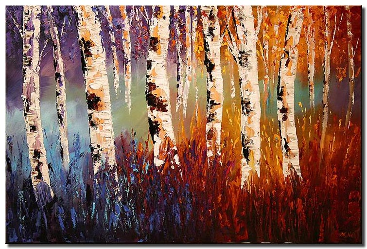 colorful forest of birch trees wall decor