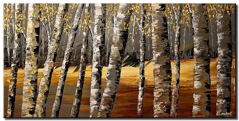 textured painting birch trees decor