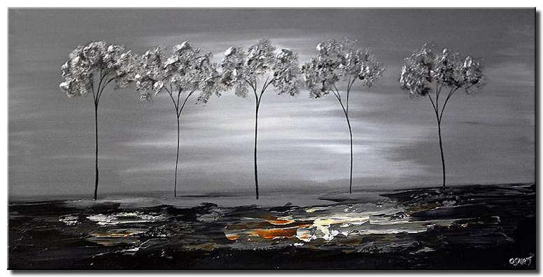 five silver trees wall decor landscape