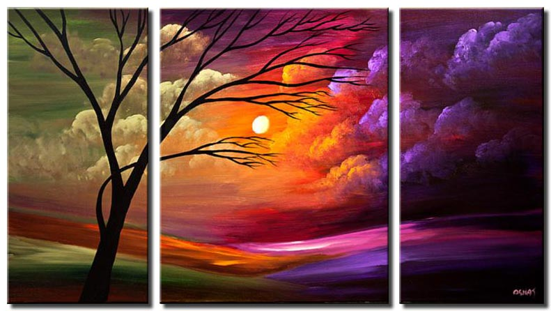 colorful sunset tree clouds triptych