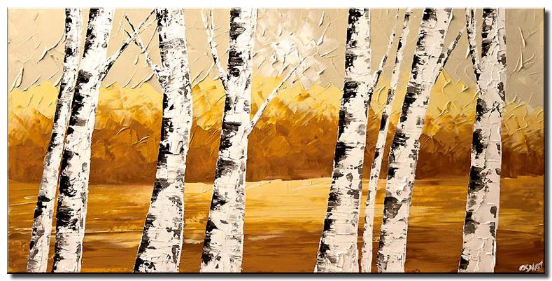 textured painting birch trees wall decor