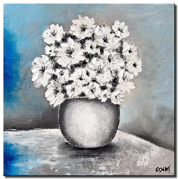 white vase and flowers floral blue wall decor