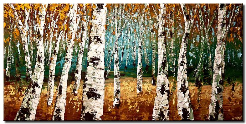 textured forest of birch trees wall decor
