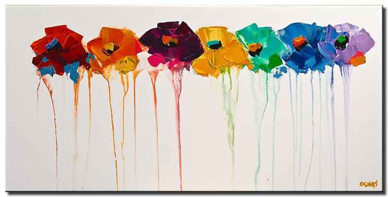 abstract flowers on white background colorful