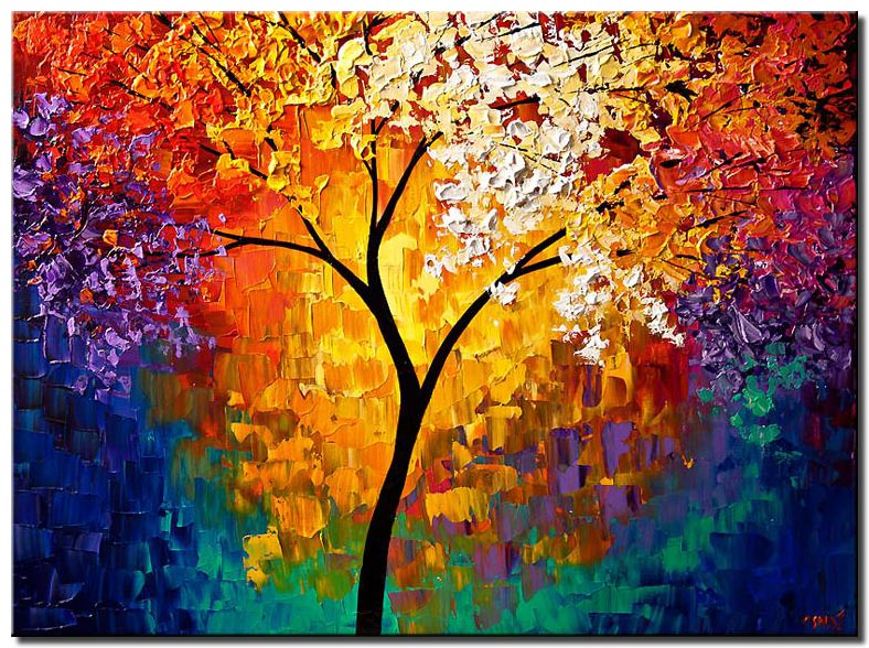 abstract tree of life colorful forest art