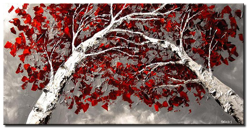 birch trees  wall decor white red painting