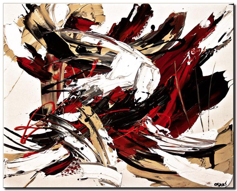 abstract in red and white painting black