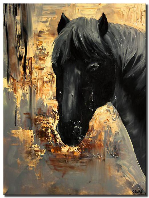 abstract painting of black horse head