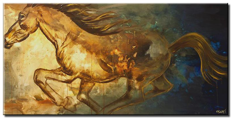 painting of pegasus horse running abstract
