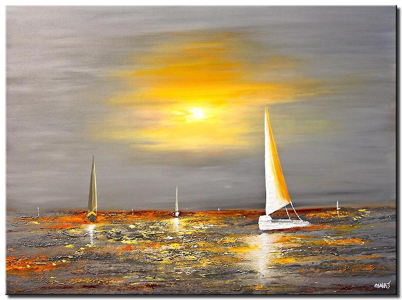 abstract painting of sail boats sailing in the ocean