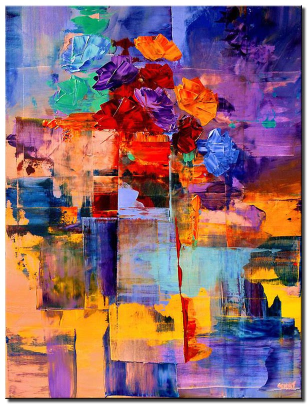 colorful abstract vase vertical large floral