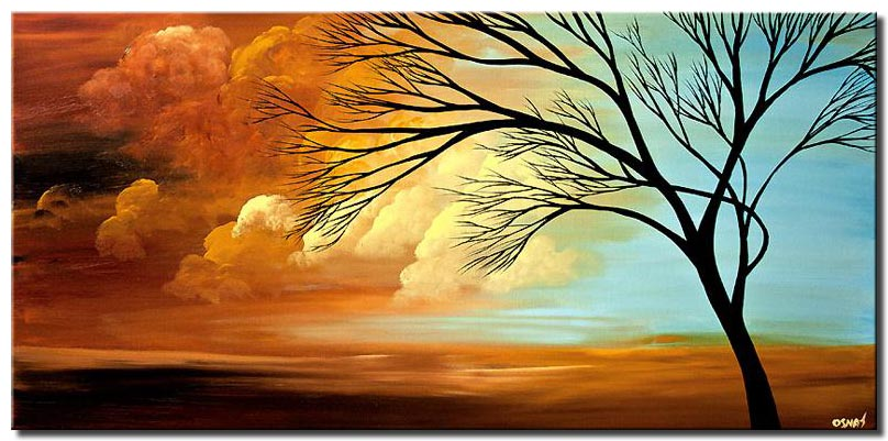 horizontal painting of sunrise and brown clouds