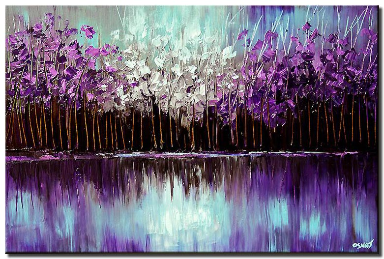 purple forest reflected in the lake reflection