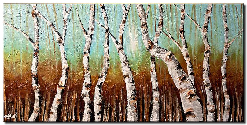 birch trees in bright day horizontal wall decor