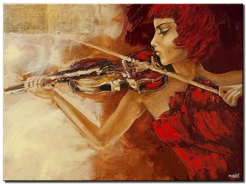 woman playing violin wall decor red