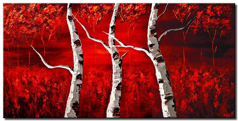 blooming birch trees red autumn large