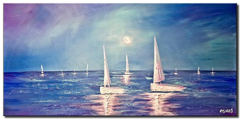 horizontal painting of white sail boats in the ocean