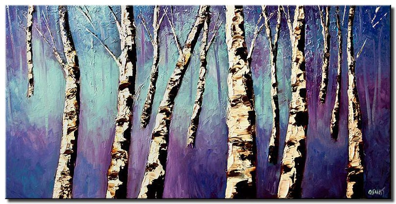 birch trees in purple forest large abstract art