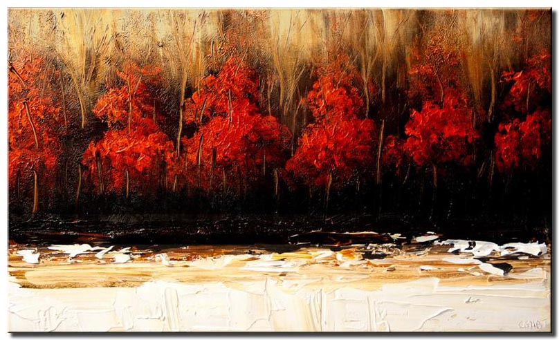 forest of red trees wall decor landscape