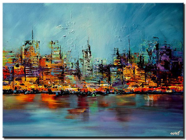 colorful cityscape painting future city large