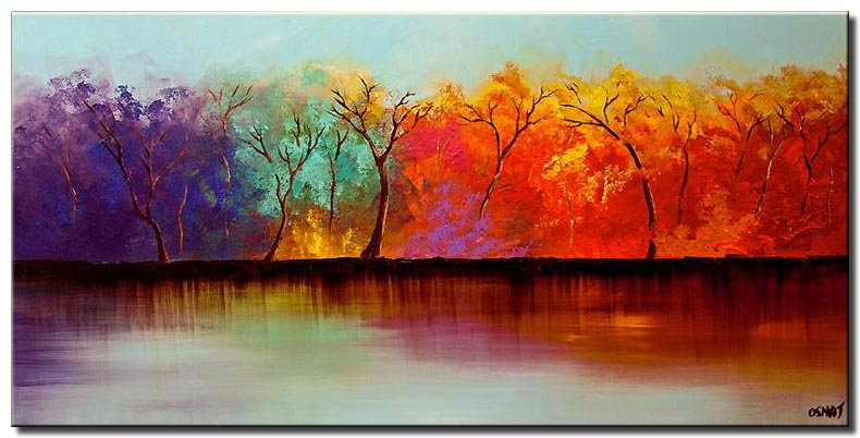 colorful forest on river bank wall decor