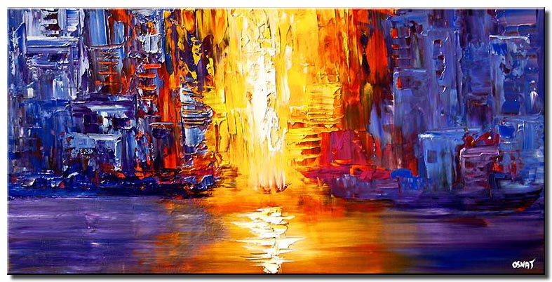 abstract passage painting in blue yellow and red tones