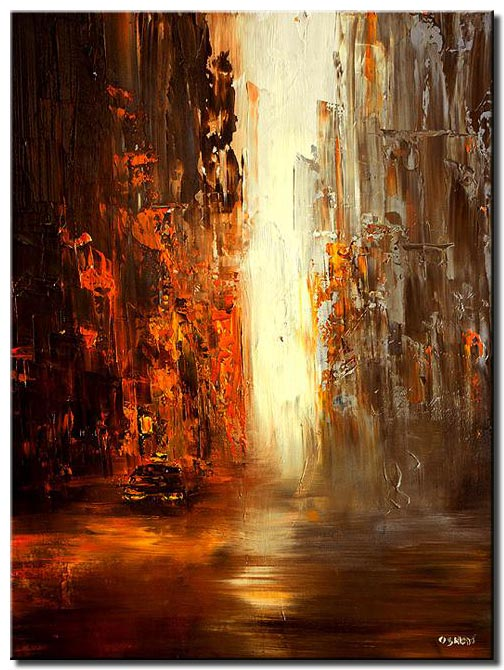 abstract vertical painting of taxi in the big city